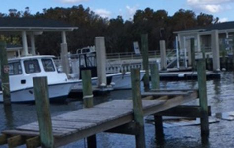 A dock in a lake in  North Carolina is broken due to the hurricane.