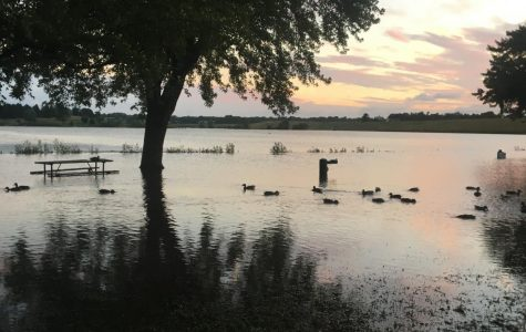 A picnic bench and water fountain are underwater at Holmes Lake due to flooding.