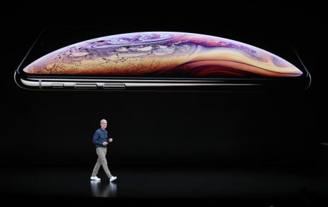 Apple's chief executive officer, Tim Cook,  speaking at Apple's Launch Event.
