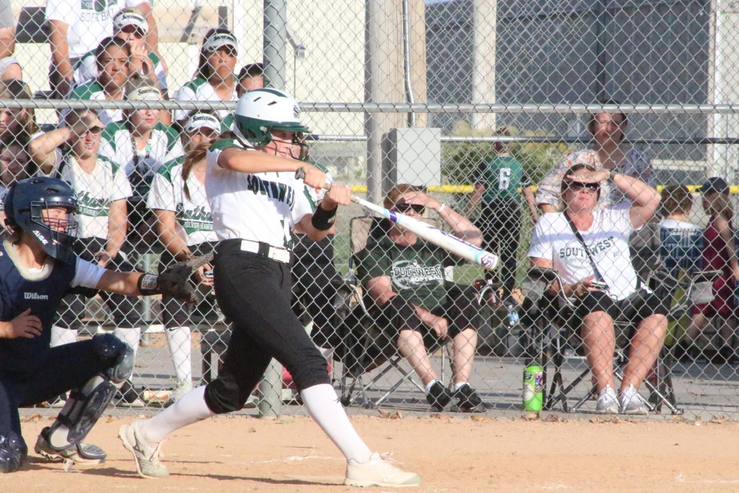 Sophomore Josie Solano bats against Lincoln North Star on Sept. 19 at Doris Bair Softball Complex.