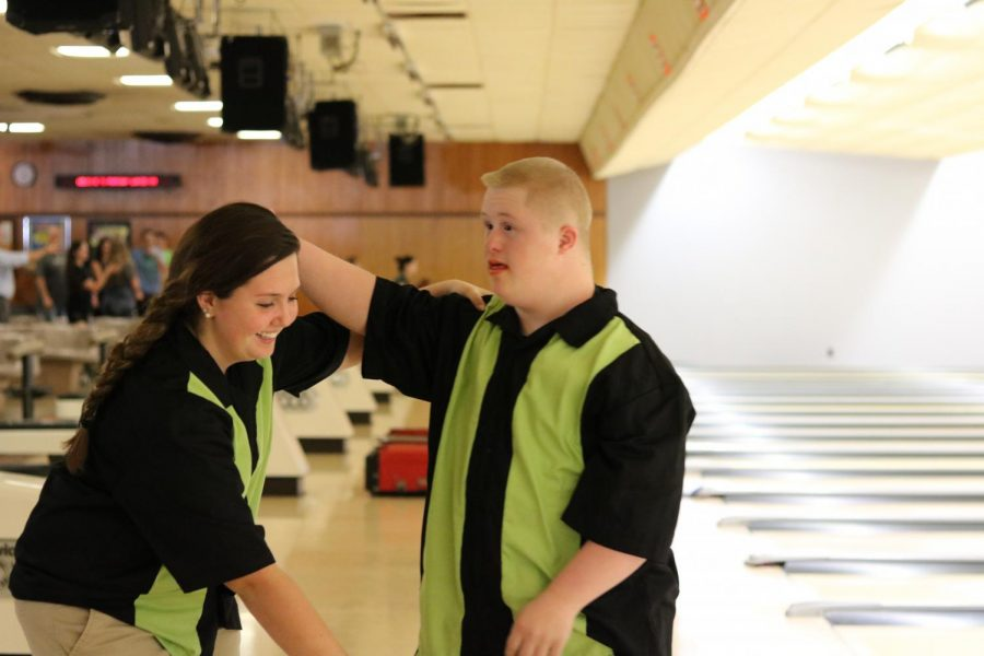Sophomore Emma Wood and Sophomore Jeff Evans get ready to bowl at last years game against Southeast. This is the second year they will have been on a team together.