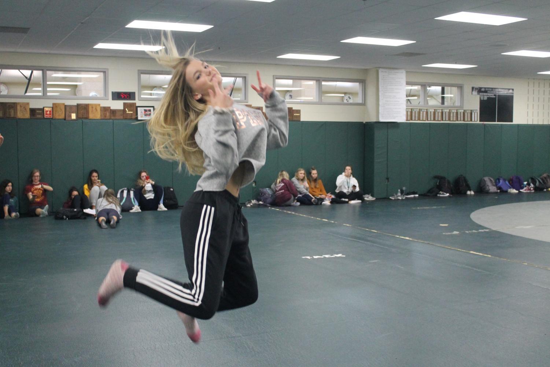 Freshman Jena Kirstine performs her routine in Dance 101.