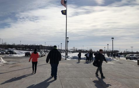 LSW students bundle up for the walk out of school. Lincoln endured record low temperatures this week.