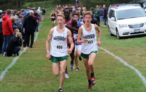 LSW senior's Trevor Acton and Tyler Boyle leading the City Championship race last year through the Pioneers Park's
