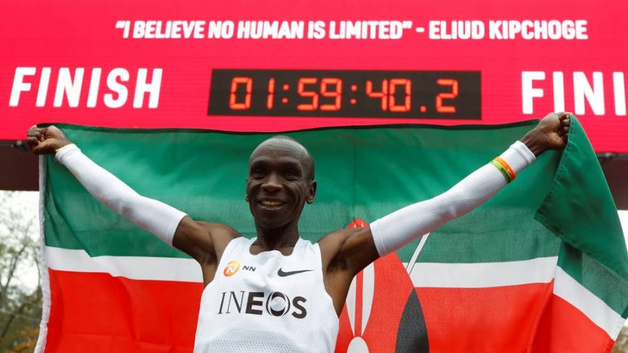Eliud+Kipchoge+celebrating+after+his+1%3A59%3A40.2+effort+early+in+the+morning+in+Vieana%2C+Austria+on+October+12%2C+2019.+He+is+the+first+man+to+ever+run+under+two+hours.