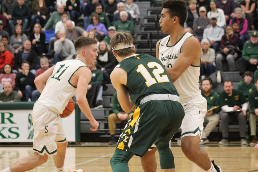 LSW Boys varsity basketball fell to Grand Island 70-57  on Sat. January 11, 2020 at Lincoln Southwest High School. Despite the loss, sophomore forward, Grant Mielak, had a career high 15 point and 5 three's.