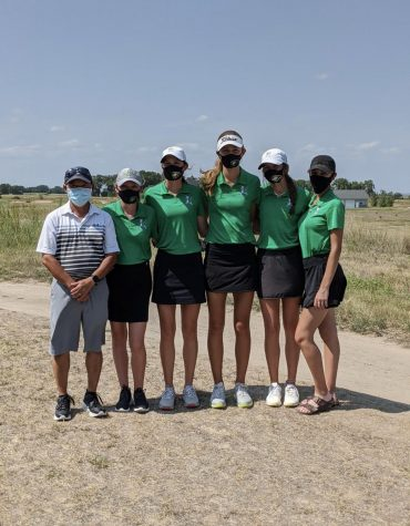 Girls Golf team at the Kearney invite on August 28. The team finished in second place with a score of 308.