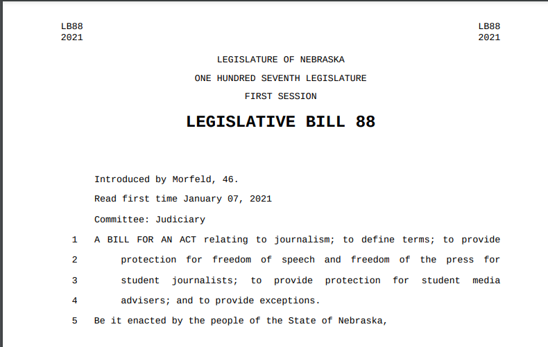 Nebraska Bill to Protect Student Journalists Introduced