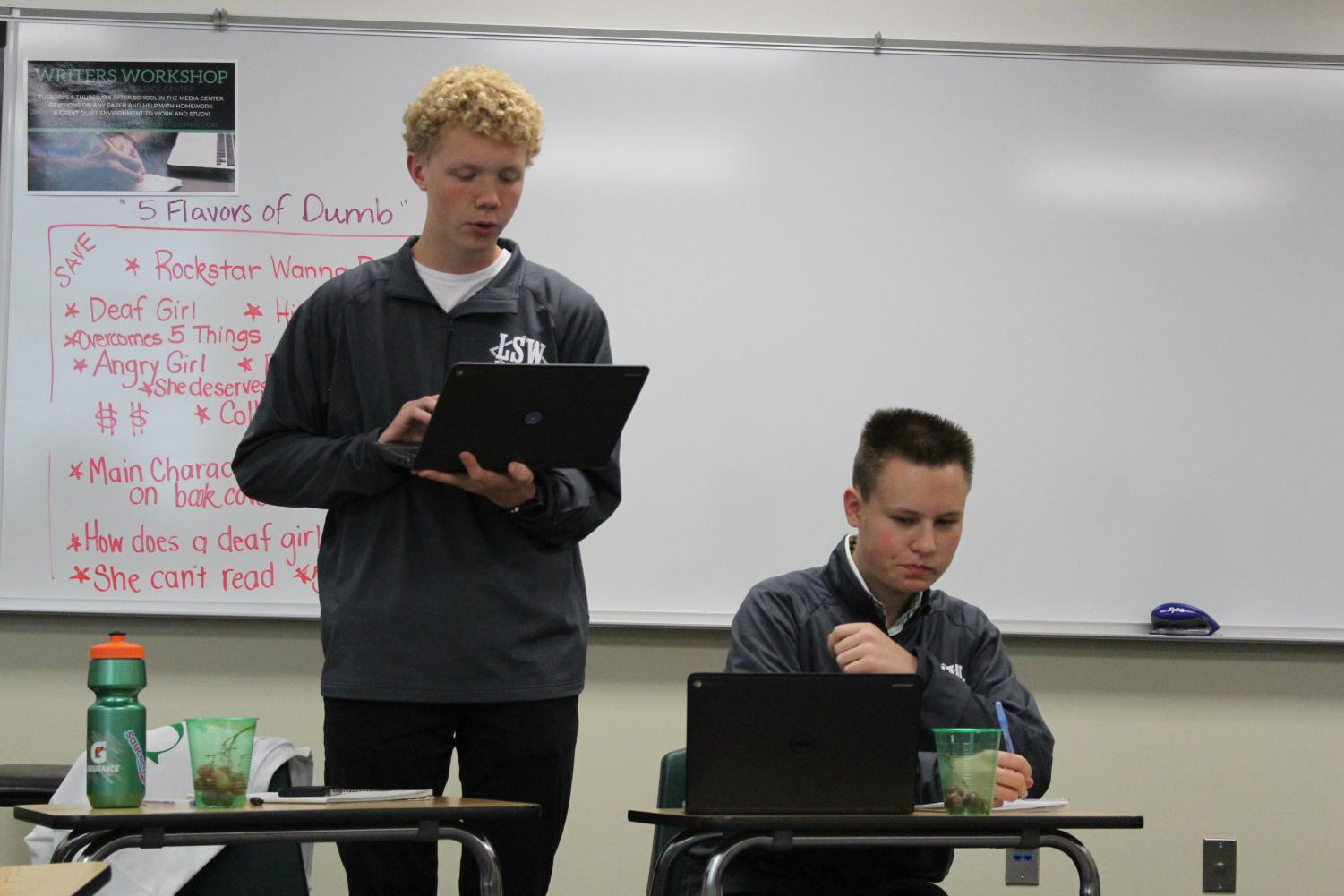 Juniors Mitch Anderson and Evan Fulton practice their debate cases during a mock round. Debate meets after school at 3:30 in room B212.