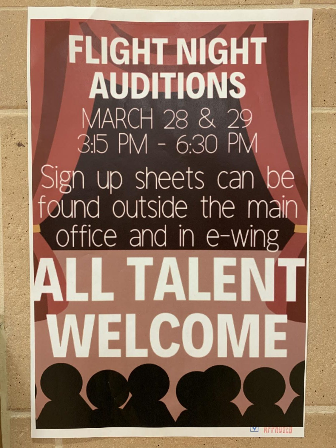Flight Night auditions are held on March 28 and 29 at 3:15 p.m. to 6:30 p.m. in the auditorium. Students are encouraged to contribute their talents to the annual Flight Night auditions!