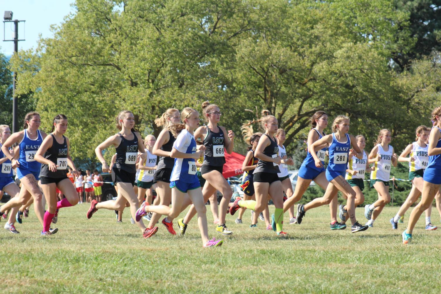 LSW JV girls begin their race at Pioneers Park on Sept. 19. They race again at Pioneers Park at the North Star Invite on Sept. 26.