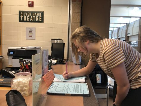 Freshman AJ Wise signs audition and crew sign up forms. Auditions will be taking place Monday, Jan. 20 and Tuesday, Jan. 21 at 6:00 p.m. in E107.