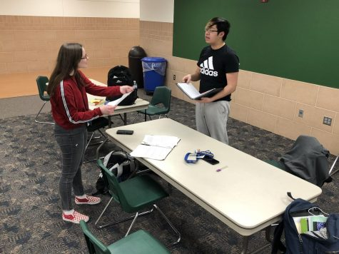 Anna Synya and Dawson Nguyen debate their new topic for the next tournament. The team won sweepstakes at Lincoln High on Feb. 1.