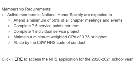 Applications are available for juniors to join 2020-21 chapter of National Honors Society. Applications are due Feb. 14.