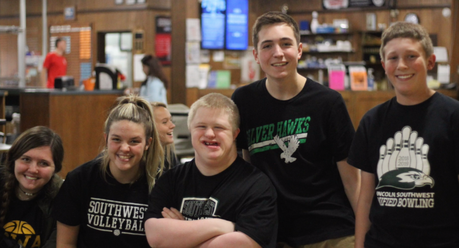 Unified bowlers bowl at a meet.