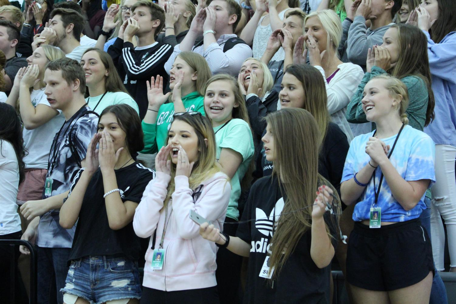 Students cheering during the Homecoming Pep Rally in 2017.