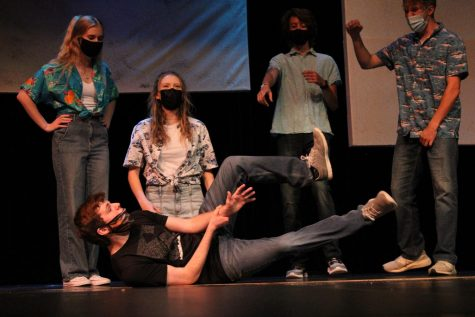 The Improv team performs in the LSW Theatre Cabaret. Audience members shouted suggestions for skit ideas.